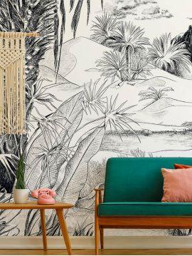 Fresque Oasis, noir et blanc - L.312 x H.250 cm - WallDecor semi-mat - lés A.B.C.D.