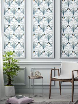 Paon, blanc - 88 x 150 cm - Aquapaper satiné lessivable 1 ex