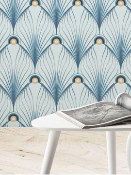 Paon, bleu - 44,7 x 300 cm - Aquapaper mat pré-encollé 1ex