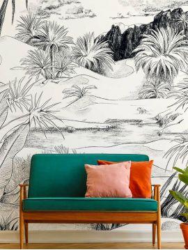 Wallpaper Oasis, noir et blanc - L.234 x H.250 cm - WallDecor semi-mat - strips A.B.C.
