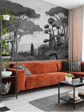 Wallpaper Toscane monochrome, fusain - L.264 x H.270 cm - Aquapaper satin washable - strips A.B.C.
