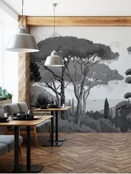 Fresque Toscane monochrome, fusain - L.264 x H.250 cm - Aquapaper mat pré-encollé - lés A.B.C.