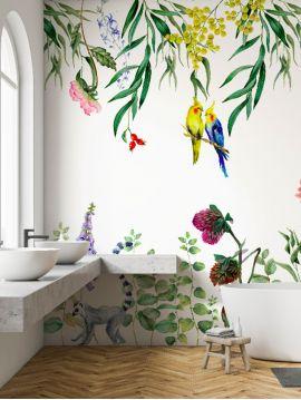 Wallpaper Lewis, blanc - L.176 x H.270 cm - Aquapaper satin pre-pasted washable - strips A.B.