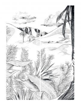Fresque Oasis, noir et blanc - L.178,8 x H.270 cm - Aquapaper satiné lessivable - lés H.I.