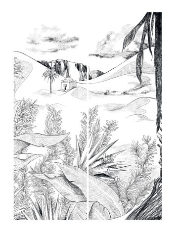 Wallpaper Oasis, noir et blanc - L.178,8 x H.270 cm - Aquapaper satin washable - Strips H.I.