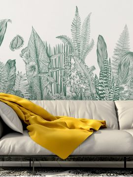 Wallpaper Botanic, vert - L.176 x H.270 cm - Aquapaper satin washable - strips B.C.