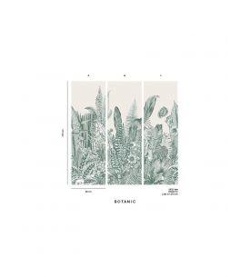 Wallpaper Botanic, vert - L.88 x H.325 cm - Aquapaper satin washable - strip B.
