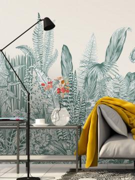 Botanic, vert - L.88 x H.325 cm - Aquapaper satiné lessivable - lé B.