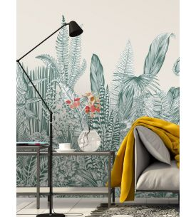 Wallpanel Oasis, Noir/Blanc - L. 176 x H. 270cm - Aquapaper satin washable