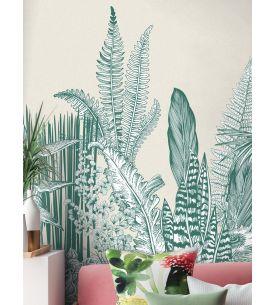 Wallpaper Botanic, vert - L.88 x H.230 cm - Aquapaper satin washable