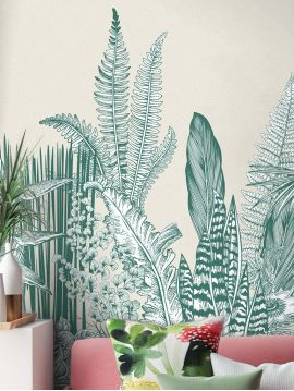 Wallpaper Botanic, vert - L.88 x H.230 cm - Aquapaper satin washable