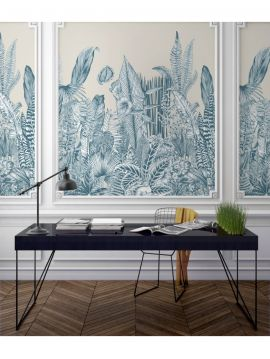 Wallpaper Botanic, bleu - L.88 x H.270 cm - Aquapaper satin washable