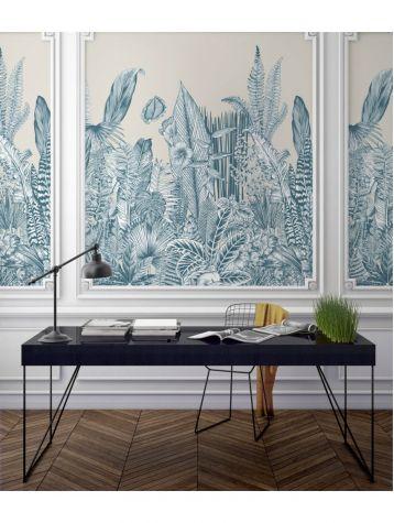 Wallpaper Botanic, bleu - L.88 x H.270 cm - Aquapaper satin washable