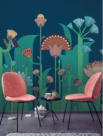 Wallpaper Botanic, bleu - L.88 x H.240 cm - Aquapaper satin washable