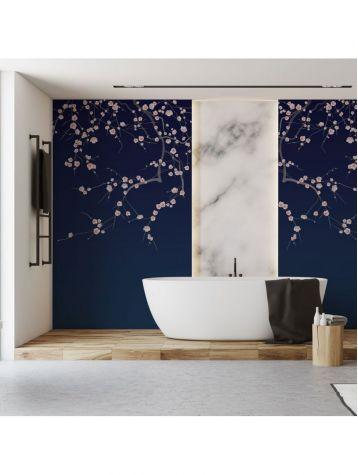Wallpaper Sakura, bleu foncé - L.88 x H.245 cm - Aquapaper satin washable