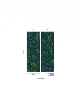 Wallpaper Jungle, bleu - W.88 x H.240 cm - Aquapaper satin washable