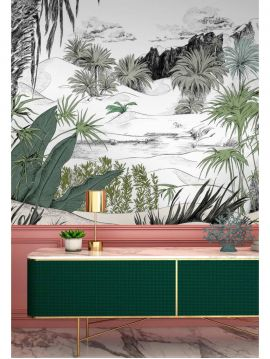 Wallpaper Botanic, vert - W.88 x H.300 cm - Aquapaper satin washable