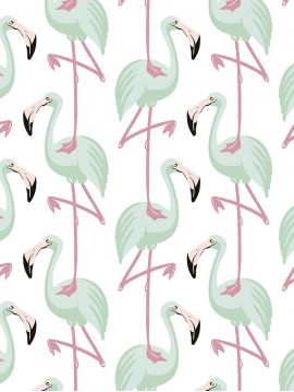Flamingo, mint - L.53 x H.1000 cm - Traditional wallpaper 1 ex