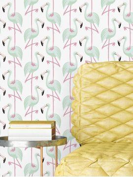 Flamingo, mint - W.44,7 x H.300 cm - Aquapaper satin washable 1ex