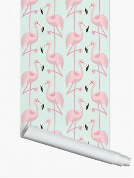 Flamingo, rose/mint - L.52 x H.1000 cm - Premium wallpaper 1 ex