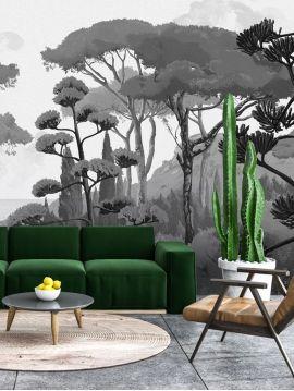 Wallpaper Creeper, vert - W.264 x H.270 cm - Aquapaper satin washable - Strips A.B.C