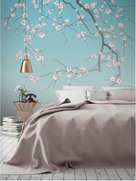 Fresque Sakura, bleu ciel - L.176 x H.270 cm D-E - Aquapaper satiné lessivable - Second choix
