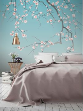 Wallpaper Sakura, bleu ciel - W.176 x H.270 cm D-E - Aquapaper satin washable  - Second quality goods