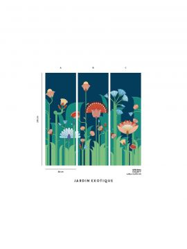 Fresque Jardin exotique, bleu - L.234 x H.300cm A-B-C - WallDecor semi-satiné - Second Choix