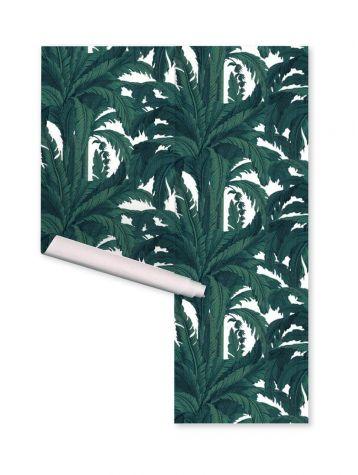 Wallpaper Musa, blanc - W.352 x H.250 cm A-B-A-B - Aquapaper satin washable  - Second quality goods