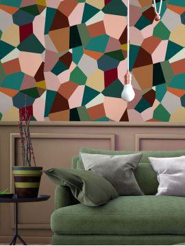 Éclats multicolore - 1 lé de L. 44,7 x H. 300cm - Aquapaper mat pré-encollé