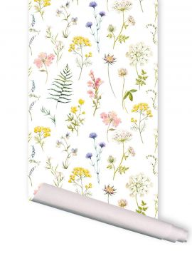 Herbier blanc - 1 strip of W. 52 x H. 300cm - WallDecor semi-mat