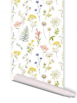 Herbier blanc - 1 lé de L. 52 x H. 300cm - WallDecor semi-mat