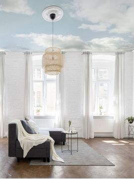Fresque Cumulus, Bleu ciel - L.234 x H.300cm - A B C WallDecor semi-satiné - Second choix