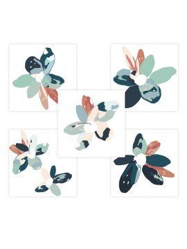 Blossom - Set de 5 planches Bleu