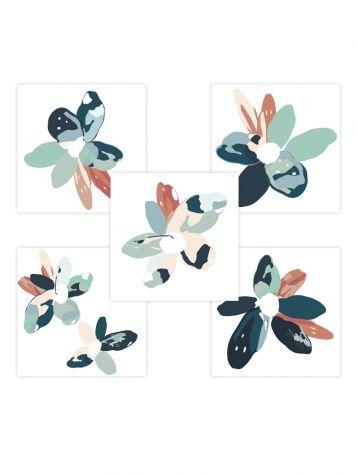 Blossom - Set de 5 planches - Bleu