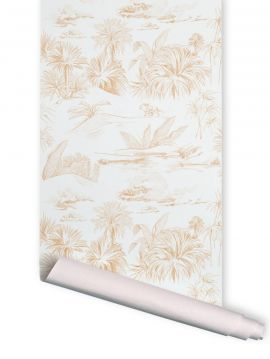 Oasis toile de jouy curry - 1 strip of W. 78 x H. 200cm - WallDecor semi-mat