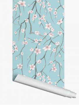 Sakura bleu ciel - 1 strip of W. 78 x H. 250cm - WallDecor semi-satiné washable
