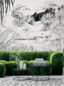 Fresque Oasis, Noir/Blanc - L.264 x H.270cm CDE - Aquapaper satiné lessivable - Second choix