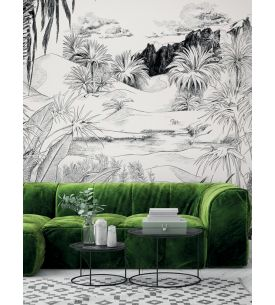 Fresque Oasis, Noir/Blanc - L.264 x H.270cm CDE- Aquapaper satiné lessivable - Second choix