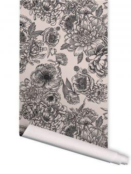 In Bloom noir et blanc - L. 156 cm x H. 240 cm - WallDecor Semi-mat