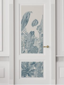 Wallpaper Botanic, bleu - W.88 x H.240 cm - Aquapaper satin washable