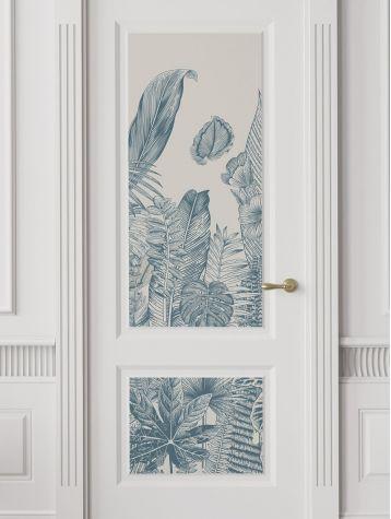 Wallpaper Botanic, bleu - W.88 x H.240 cm - Aquapaper satin washable