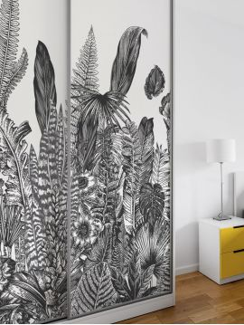 Wallpanel Botanic, Charbon - W.156 x H.250cm - WallDecor semi-satin washable