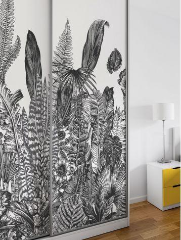 Wallpanel Botanic, Charbon - W.156 x H.250cm - WallDecor semi-satin washable