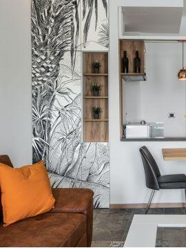 Oasis, Noir/Blanc - 1 lé A de L.78 x H.300cm - WallDecor semi-satiné lavable