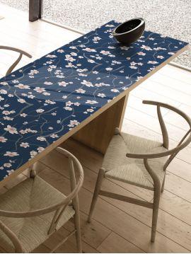 Sakura bleu foncé - 1 lé de L. 88 x H. 245cm - Aquapaper mat pré-encollé