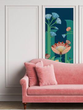 Jardin exotique, bleu - 1 strip C of W.88 x H.220 cm - Aquapaper matt non washable