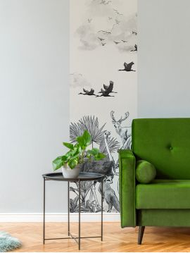 Noé, Monochrome Dark Grey - 1 strip A of L.78 x 250cm - Original Wallpaper