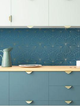 Tiles, bleu - 6ml x 52cm roll - Traditional Wallpaper