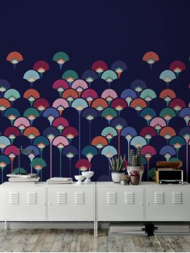 Fresque Palm - Bleu Violet - L.176 x H.250 cm - Lés A.B - Aquapaper satiné lessivable